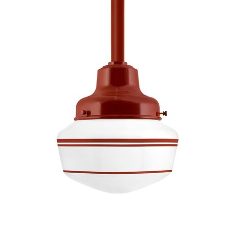 Schoolhouse LED, Small Glass, Triple Stripe in 400-Barn Red, Fitter in 400-Barn Red, Mounting in 400-Barn Red
