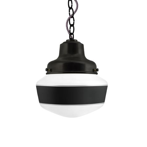 Schoolhouse LED, Small Glass, Single Stripe in 100-Black, Fitter in 100-Black, Chain in 100-Black with CSBP-Black & Pink Cloth Cord