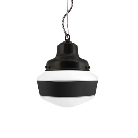 Schoolhouse LED, Small Glass, Single Stripe in 100-Black, Mounting in 100-Black, CSBP-Black & Pink Cloth Cord