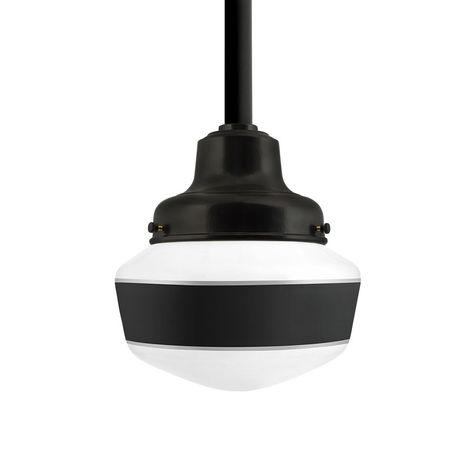 Schoolhouse LED, Small Glass, Single Stripe in 100-Black, Fitter in 100-Black, Mounting in 100-Black