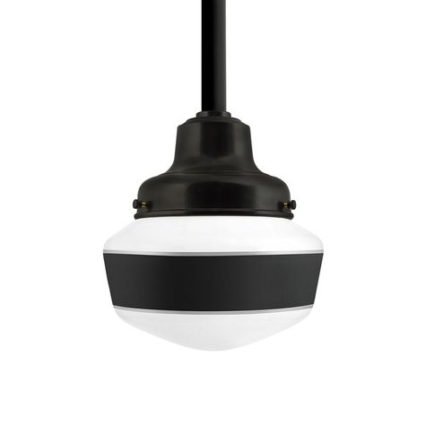 Schoolhouse LED, Small Glass, Single Stripe in 100-Black, Fitter in 100-Black, Mounting in 100-Black
