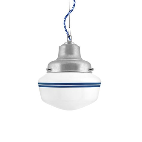 Schoolhouse LED, Small Glass, Double Stripe in 700-Royal Blue, Fitter in 975-Galvanized, CSUW-Blue & White Cloth Cord