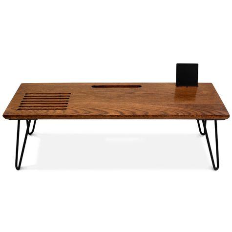 Carmen Lap Desk, NMO-Nutmeg Oak, 100-Black, Shown with Cell Phone Stand