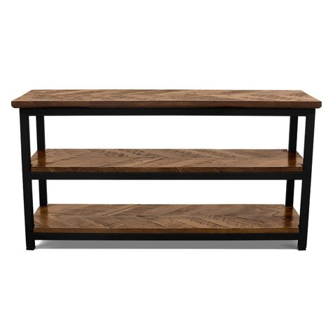 Chevron Console Table, NW-Natural Walnut, 100-Black