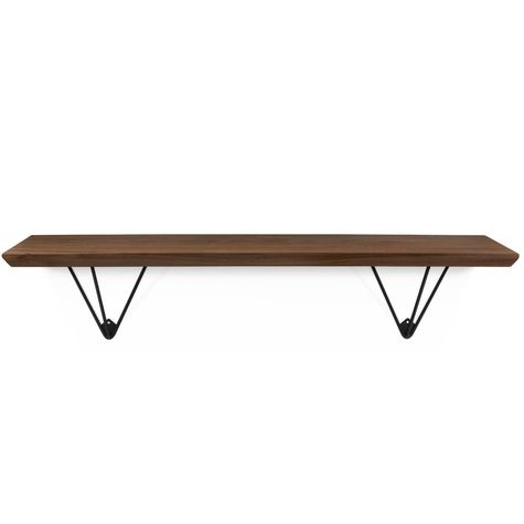 Evenlyn Hairpin Shelf, MP-Mahogany Pine, 100-Black