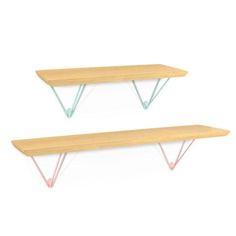 Evelyn Hairpin Shelf Set, GP-Golden Pine, Small Shelf in 311-Jadite, Large Shelf in 480-Blush Pink