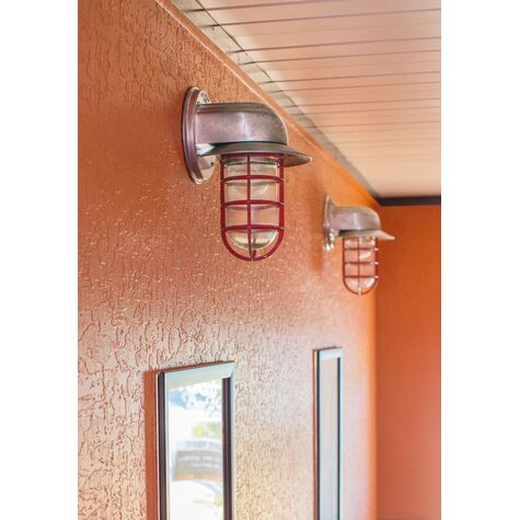 Streamline Industrial Guard Sconce, 975-Galvanized, Flared Shade, CGG-Standard Cast Guard, 400-Barn Red, RIB-Ribbed Glass