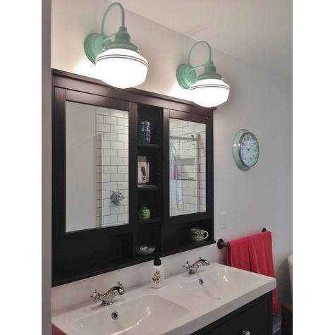(2) Mascot Schoolhouse Sconces, Opaque Glass, 311-Jadite Mounting & Fitter Finish, Double Painted Band in 311-Jadite | Photo Courtesy of Homeowner