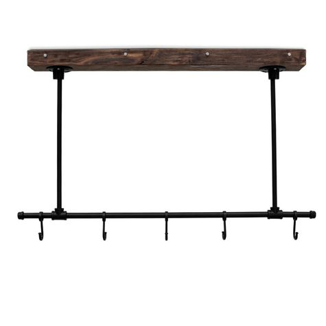 "Julia Hanging Pot Rack, DAO-Dark Antique Oak, 100-Black, 5 Hooks, 24"" Stems"