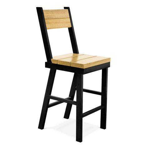 Mitchell Bar Stool, GP-Golden Pine, 100-Black