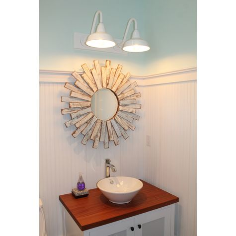 "Austin Gooseneck Double Vanity Light, 10"" Shades, 200-White 