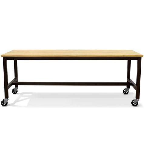 Calvin Community Table, GP-Golden Pine, 100-Black, Option Locking Wheels