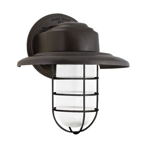 Streamline LED Industrial Guard Sconce, 600-Bronze, Flared Shade, WGG-Wire Guard, RIB-Ribbed Glass