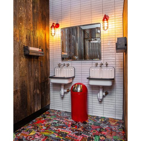 (2) Industrial Guard Sconces, 400-Barn Red, No Shade, CGG-Standard Cast Guards, CLR-Clear Glass   Photo Courtesy of Assembly Design Studio Boston