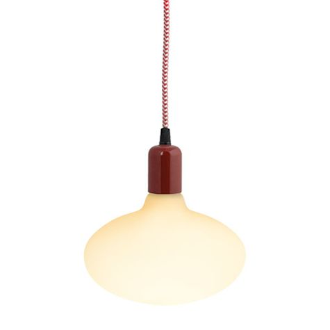 The Downtown Minimalist Cord Pendant, 400-Barn Red, CRZ-Red Chevron Cord | Shown with Oval Tala Lamp