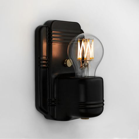 The Kao Wall Sconce, 100-Black | Shown with Globe Tala Lamp