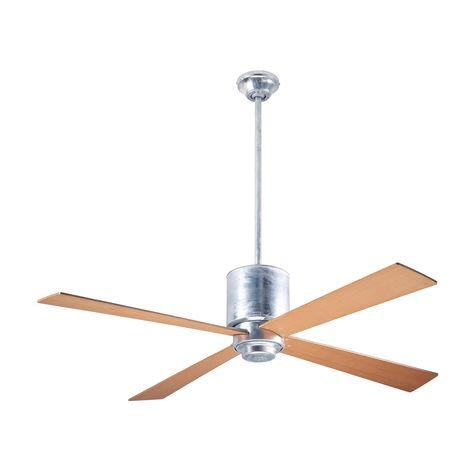 Lapa Ceiling Fan, Galvanized, Maple Blades