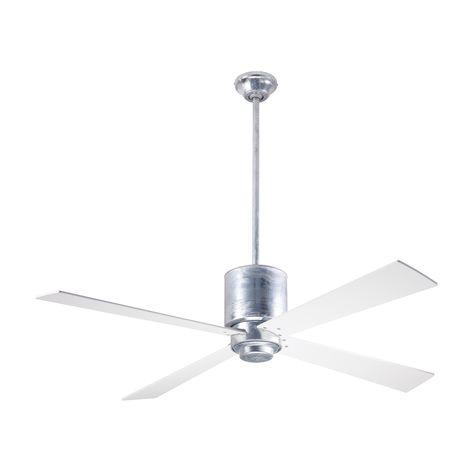 Lapa Ceiling Fan, Galvanized, White Blades