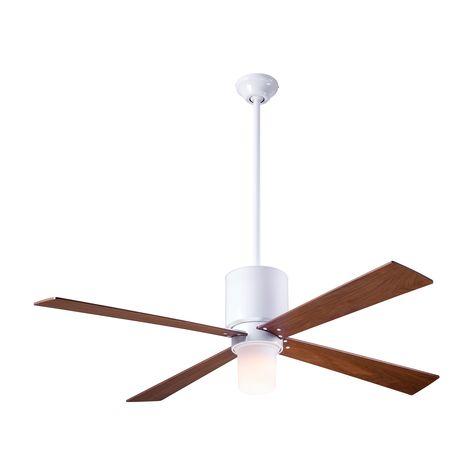 Lapa Ceiling Fan, Gloss White, Mahogany Blades