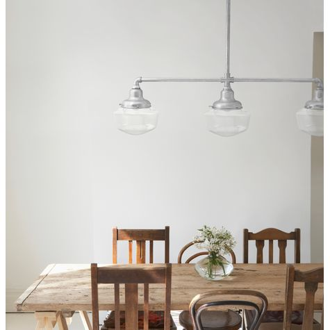 The Schoolhouse 3-Light Chandelier, 975-Galvanized, Small Clear Glass with No Painted Band