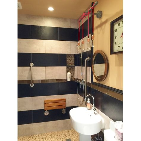 The Lang Machine Age 4-Light Wall Light, CSR-Red Cloth Cord, CS-Copper Sockets with No Switches | Photo Courtesy of Homeowner