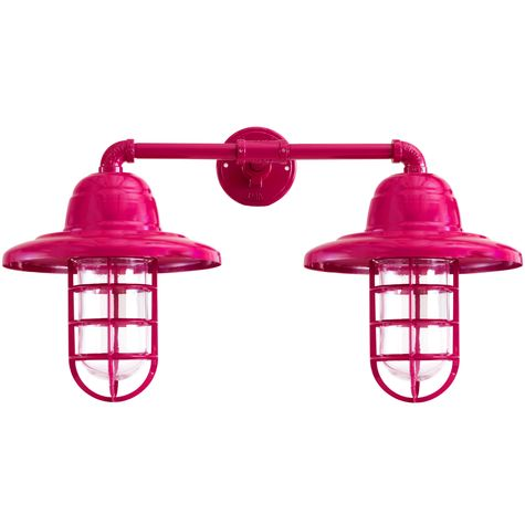 Double Market Industrial Guard Sconce, 490-Magenta, WH-Warehouse Shade, CGG-Standard Cast Guard, CLR-Clear Glass