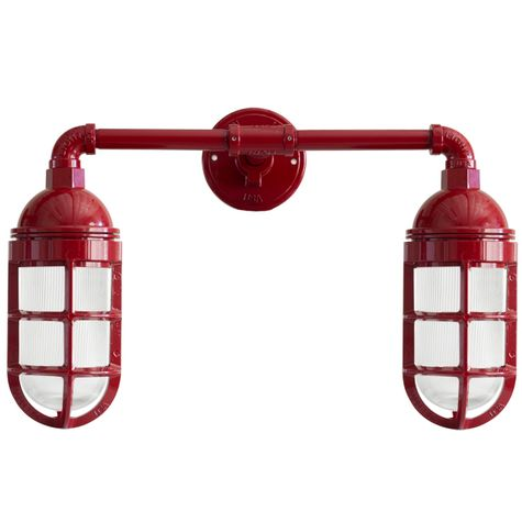 Double Market LED Industrial Guard Sconce, 400-Barn Red, No Shade, TGG-Heavy Duty Cast Guard, RIB-Ribbed Glass