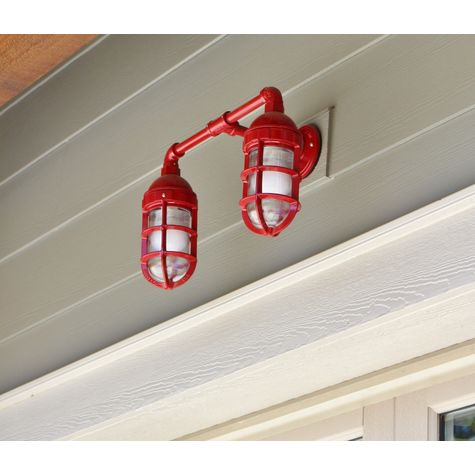 Double Market Industrial Guard Sconce, 400-Barn Red, No Shade, TGG-Heavy Duty Cast Guard, RIB-Ribbed Guard
