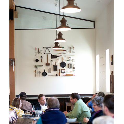 "12"" Laramie Pendants, 605-Rust, SBK-Standard Black Cord   Photo Courtesy of Feed Cafe Restaurant (Bozeman, Montana)"