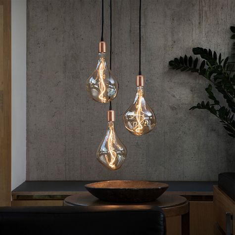 The Downtown Minimalist Cord Pendant, 995-Raw Copper, CSB-Black Cloth Cord | Shown with Voronoi II Tala Lamp