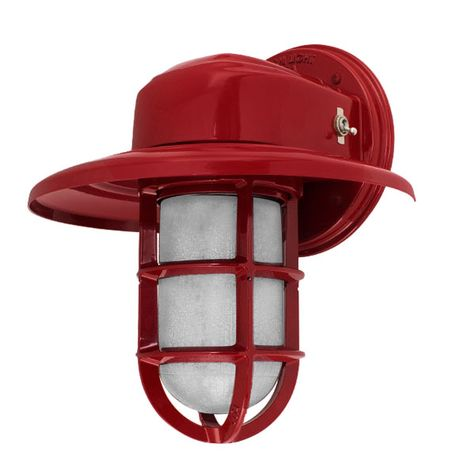 Streamline Industrial Guard Sconce, 400-Barn Red, Warehouse Shade, TGG-Heavy Duty Cast Guard, CCR-Clear Crackle Glass, On/Off Toggle Switch