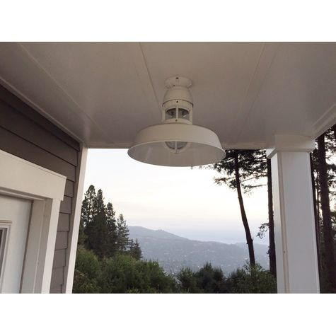 """14"""" Sydney Stem Mount Light, 200-White Finish, Flush Mount, With Cap, Standard Canopy, 200-White Guard Finish, CLR-Clear Glass 