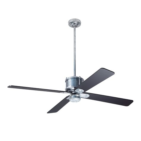 Machine Age Galvanized Ceiling Fan, Black Blades, No Light Kit