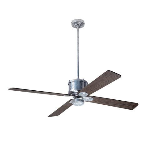 Machine Age Galvanized Ceiling Fan, Greywash Blades, No Light Kit