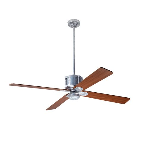 Machine Age Galvanize Ceiling Fan, Mahogany Blades, No Light Kit