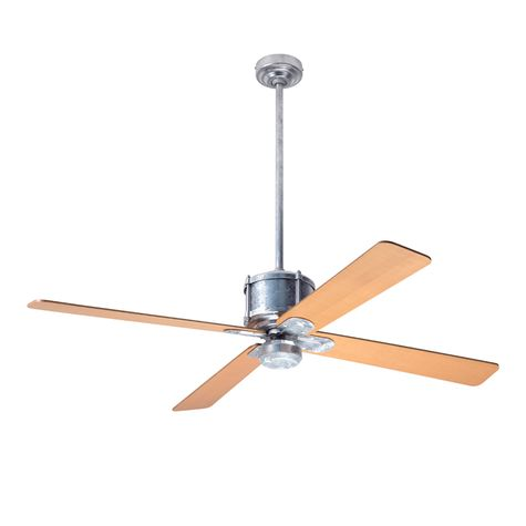 Machine Age Galvanized Ceiling Fan, Maple Blades, No Light Kit