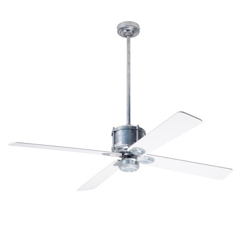 Machine Age Galvanized Ceiling Fan, White Blades, No Light Kit