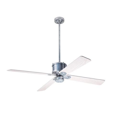 Machine Age Galvanized Ceiling Fan, Whitewash Blades, No Light Kit