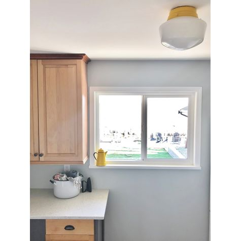 The Letterman Schoolhouse Flush Mount Light, 500-Buttery Yellow, Small Opaque Glass with No Stripe | Customer Submission