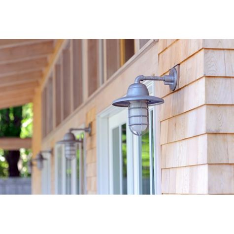 (4) Industrial Guard Sconces, 975-Galvanized, Warehouse Shade, CGG-Standard Cast Guards, FST-Frosted Glass   Photo Courtesy of Homeowner