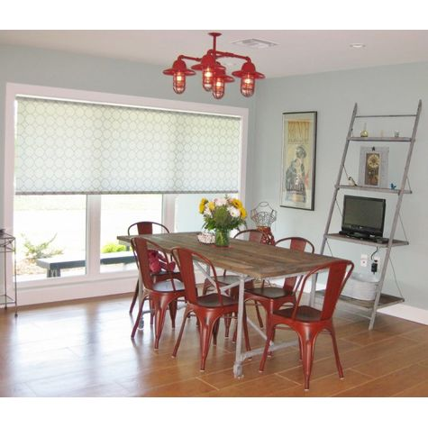 The Foundry 4-Light Chandelier, 400-Barn Red, Warehouse Shade, CGG-Standard Cast Guard, CLR-Clear Glass