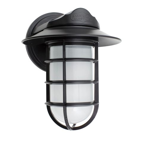 Industrial Static Sconce, 100-Black, Flared Shade, CGG-Standard Cast Guard, FST-Frosted Glass