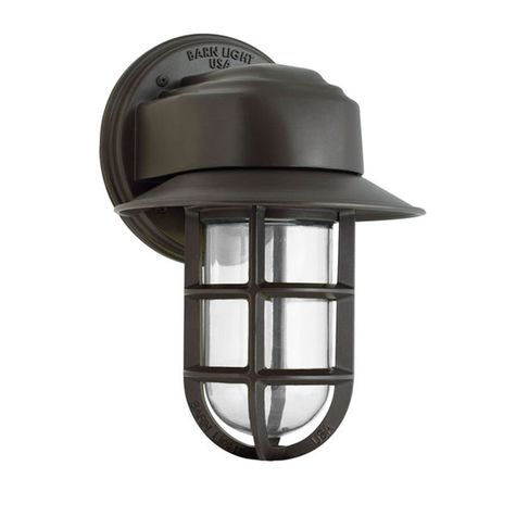 Streamline Industrial Guard Sconce, 600-Bronze, Flared Shade, CGG-Standard Cast Guard, CLR-Clear Glass