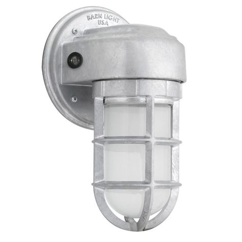 Streamline LED Industrial Guard Sconce, 975-Galvanized, No Shade, TGG-Heavy Duty Cast Guard, FST-Frosted Glass, Dusk to Dawn Photocell