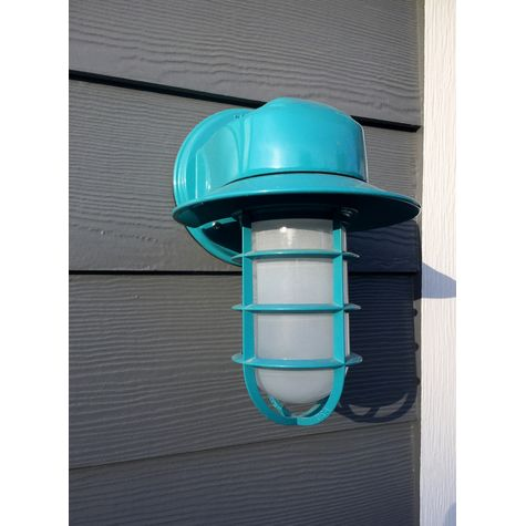 Streamline LED Industrial Guard Sconce, 390-Teal, CGG-Standard Cast Guard, FST-Frosted Glass | Customer Submission