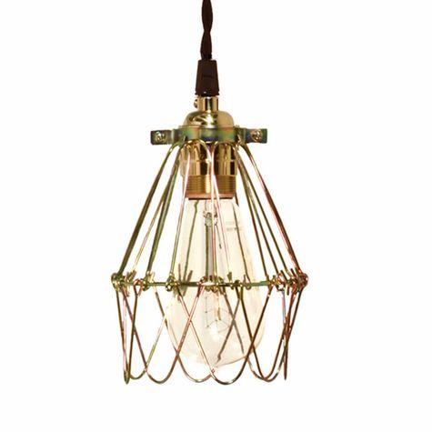 Minimalist Polished Brass Cage Pendant With Wire Cage, Nostalgic Edison Style 1910 Era Bulb
